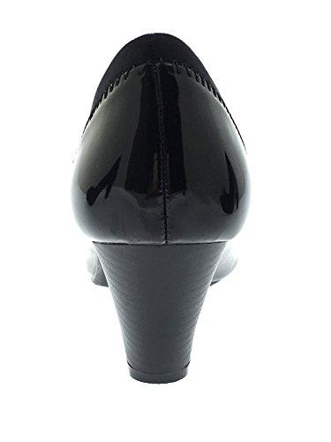 Lora Dora , Sandales Compensées femme Noir - Black Patent Slip On