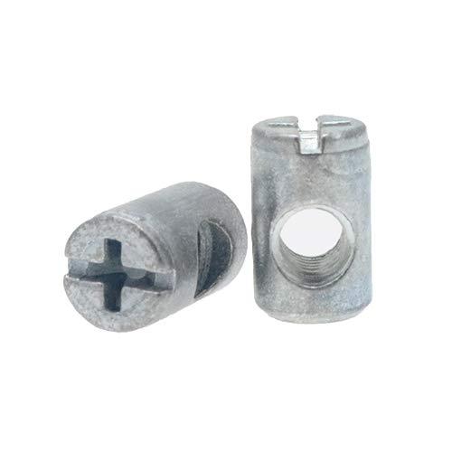 Zylindermuttern, Quergewindebolzen, 10Stück, M6-Gewinde, -10mm auf 16mm für 19mm dicke Platten-Möbelverbinder, Möbelbefestigungen-BNUT001