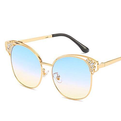 Yuanz Cat Eye Sonnenbrille Damen Herren Crown Diamond Sonnenbrille Damen Uv400 Gradient Shades,G
