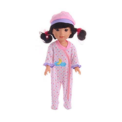 Traje de Servicio a Domicilio Conjunto de Pijama Mono Ropa Jumpsuits Impresión de Dibujos Animados para 14 Pulgadas Americana Muchacha Muñeca Gusspower