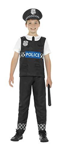 Smiffy'S 21948S Disfraz De Policía Y Con Camiseta, Pantalones Y Sombrero, Negro / Blanco, S - Edad 4-6 Años