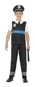 Smiffys Disfraz de policía, Blanco y Negro, con Camiseta, Pantalones y Sombrero