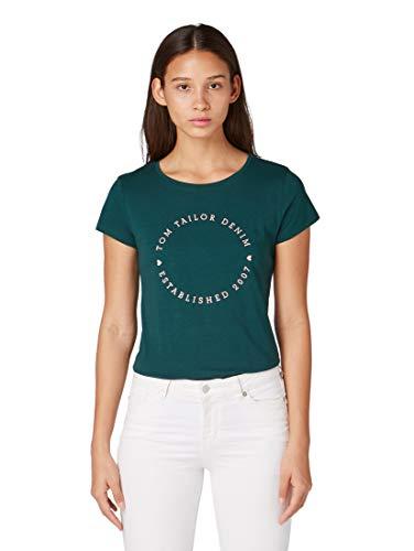 Armee-logo-t-shirt (TOM TAILOR Denim Damen Logo-Print T-Shirt, Grün (Deep Green Lake 10834), Large (Herstellergröße: M))