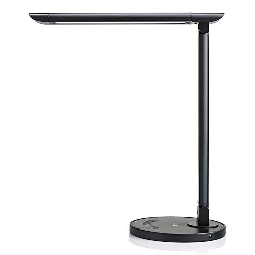 Lámpara Escritorio LED TaoTronics Flexo de Escritorio 12W Regulable (Cuidado a Ojos, Puerto USB 5V/ 1A, 7 Niveles de Brillo x 5 Modos, Control Táctil, Bajo Consumo de Energía, Ángulo Ajustable) Negro
