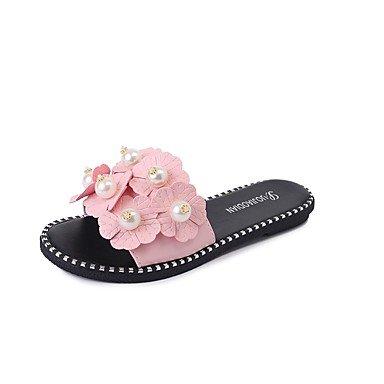 Rtry Femme Pantoufles Et Amp; Flip-flops Été Confort Pu Casual Chunky Heelblack Blanc Marche Us6.5-7 / Eu37 / Uk4.5-5 / Cn37