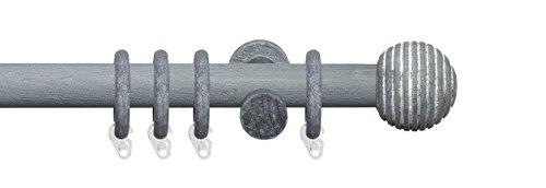 Liedeco Gardinenstange Vorhangstange Stilgarnitur Komplettgarnitur Terra Kugel Rille | Holz | weiß, grau | 28 mm Ø (kalkgrau, 240 cm)