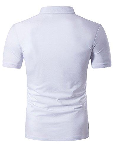 YCHENG Herren Sommer Lässig Kurzarm Poloshirt Einfarbig Slim Fit T-shirt mit 3D Muster Weiß