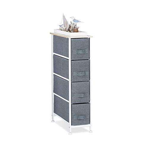 Relaxdays, grigio 10023328_492 mobiletto con 4 cassetti, mobile cassettiera, hxlxp: 76 x 20 x 48 cm, tessuto, metallo, legno