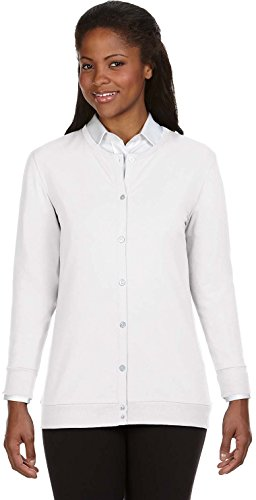 Devon & Jones DP181W Ruban Cardigan pour un ajustement Parfait Blanc - Blanc