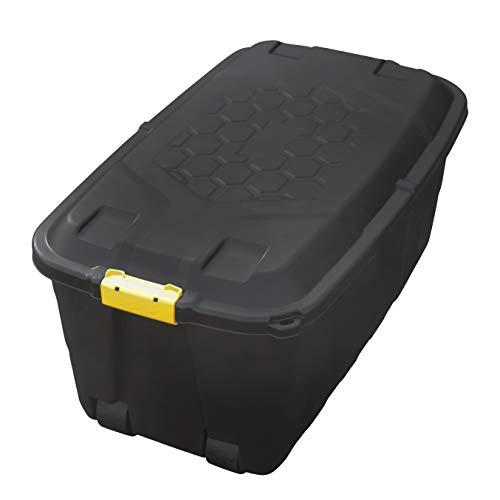 XXL Transportbox/Kissenbox mit 75 Liter Fassungsvermögen und Vier Rollen - für Garten, Haus, Hobby und Gewerbe geeignet - schützt Inhalt vor Feuchtigkeit - Wetter- & UV-beständig - äußerst robust - Garten Vier