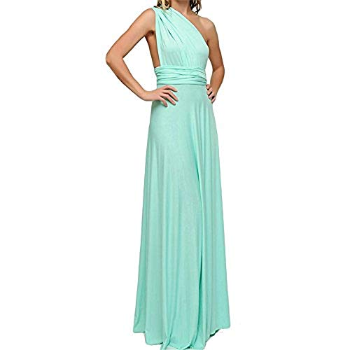 Frauen Sexy Lange Abendkleid Elegant V-Ausschnitt Bodenlangen Multi-Way Party Cocktailkleid Brautjungfer Kleider (L, Türkis)