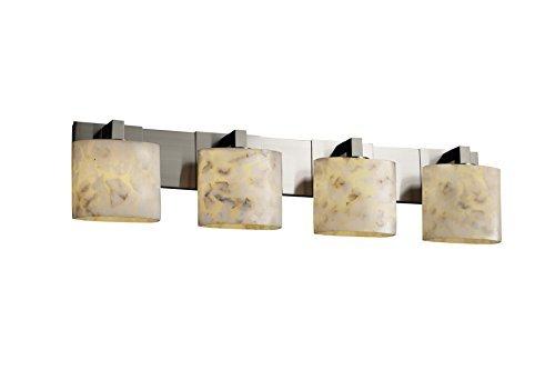 Justice Design Group Alabaster Rocks! 4-Light Bath Bar - Brushed Nickel Finish with Shaved Alabaster Rocks Cast Into Resin Shade by Justice Design Group Lighting -