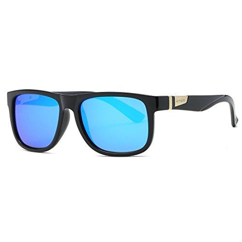 kimorn Polarisierte Sonnenbrille Herren Quadratische Form Retro Unisex Brille K0585 (Glänzend schwarz&Blau)