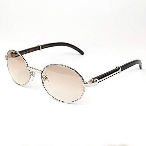LKVNHP New Hohe Qualität Ovale Sonnenbrille Holz Metall Carter Herren Sonnenbrille Markendesigner Holz Sonnenbrille Frauen Holzrahmen Brillen ShadesSchwarz Buffalo Silber