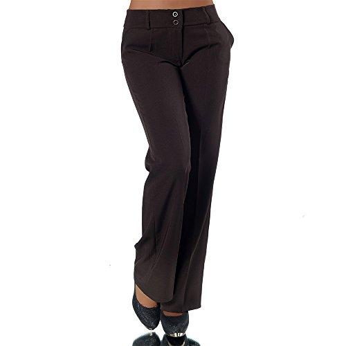 H324 Damen Business Stoffhose Elegante Bootcut Hose Classic Schlaghose Schlag, Farben:Braun;Größen:40 L (Etikett T4)