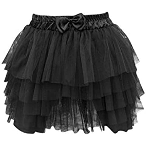 TOOGOO(R)Sexy donna mini gonna pizzo garza Tutu donne 5 strati nera