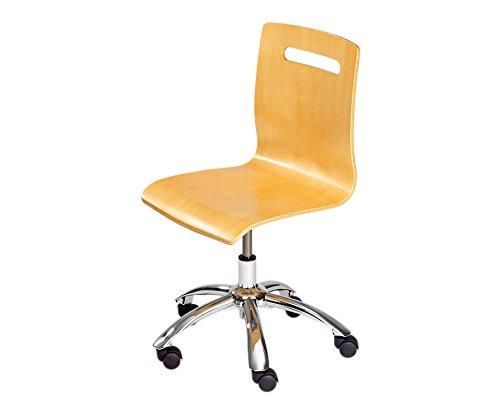Bürodrehstuhl Holz Buche mit extra leisen Laufrollen - Arbeits-Drehstuhl Schule Schreibtischstuhl Schulstuhl Kinder