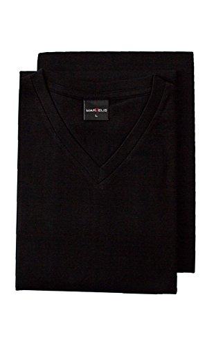 Marvelis Doppelpack T-Shirts V-Ausschnitt schwarz Schwarz