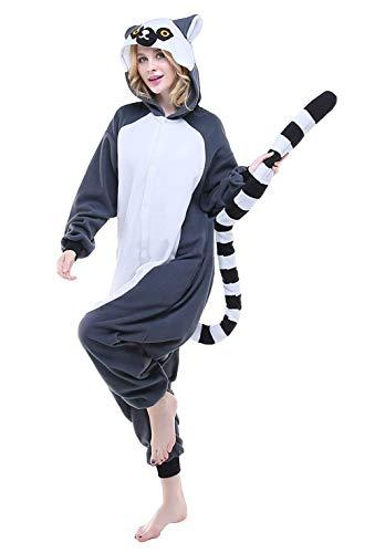 ABYED® Kostüm Jumpsuit Onesie Tier Fasching Karneval Halloween kostüm Erwachsene Unisex Cosplay Schlafanzug- Größe XL -for Höhe 175-181CM, Long Tail Affe