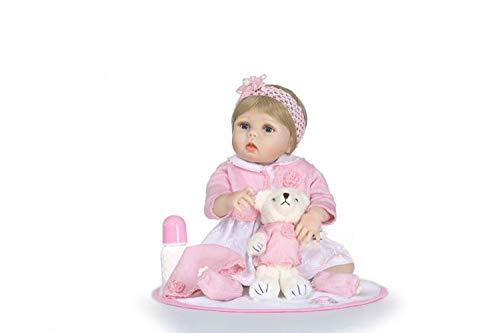 TERABITHIA 22 Zoll lebensechte Wiedergeboren Kleinkind Puppe, die echt aussieht,rosa Prinzessin Baby, Mädchen Puppe in Silikon-wie Vinyl voller Körper gefertigt (Lebensechte Baby-puppen Für Erwachsene)