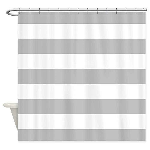 OneHoney Badezimmer Dusche Vorhang Geometrische Streifen Wasserdicht Haarclip mit Vorhänge mit Haken Set, Textil, Grau und Weiß, 66x72inch - Blau Dusche Vorhang Liner-navy