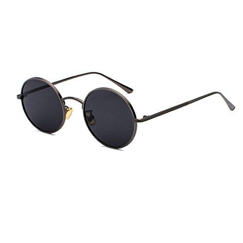 Inlefen Runde Metallrahmen Gläser Vintage Kreis Sonnenbrille für Männer und Frauen,Schütze Grau,57