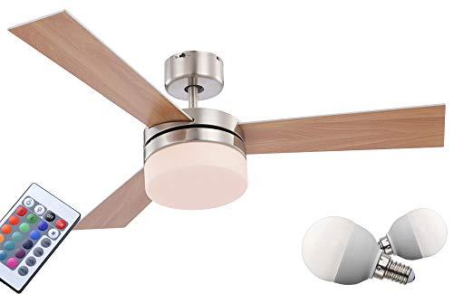 Hochwertiger Decken Ventilator Fernbedienung Beleuchtung im Set inklusive RGB LED Leuchtmittel -