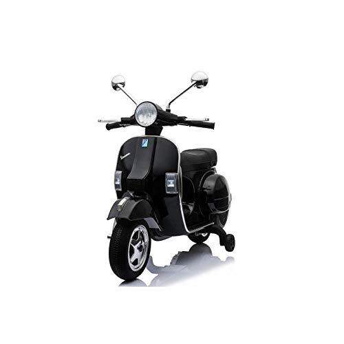ATAA CARS Vespa clásica Oficial 12v Licencia Piaggio - Negro Moto eléctrica para niños hasta 7 años. Batería 12v Coche electrico niños