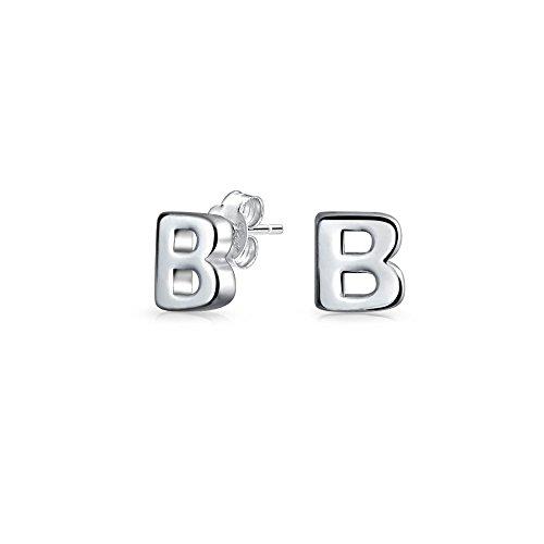 Moderne Hauptstadt Buchstaben B erste Bausteintyp zarte Ohrstecker 925 Sterling Silber Poliert 5,5mm