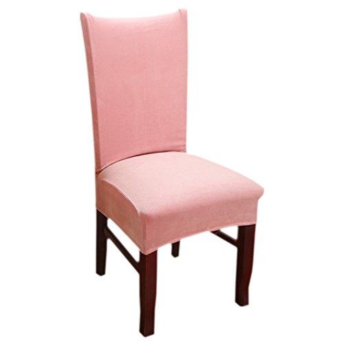 Stuhlhussen,Inroy Stretch Stuhlbezug,Elastische Abdeckungen für Esszimmerstühle, Universelle Dekoration Stuhl-Abdeckung (4-Stück, Rosa)