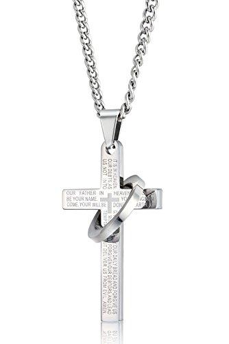 Sailimue Edelstahl Kreuze Halskette für Herren Damen Gebet Bibel Halskette 61cm in Farbe Weiß