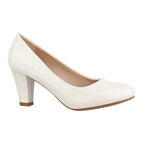 Elara Damen Pumps | Bequeme High Heels Lackoptik Trichterabsatz | Vintage-Style | Chunkyrayan 7056-P-White-38