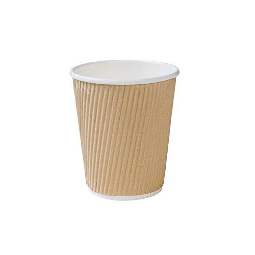 kaufdichgrün 25x Bio Einweg Riffelbecher | brauner Kraftkarton | 200ml, 8oz | Kraftkarton | 100{6005f6e955dd303819c575782eed670cf3db5d9d1d61645d8fdf1c5cbaf69e66} biologisch abbaubar, zertifiziert kompostierbar | mit Biobeschichtung | ohne Plastik | unbedruckt