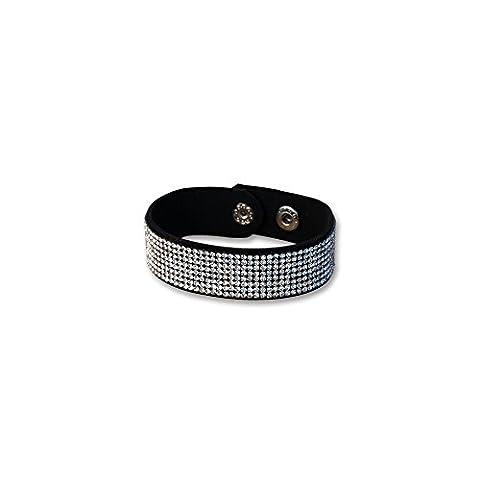 Bracelet Blue Pearls - Bracelet Cuir Noir et Cristal de Swarovski