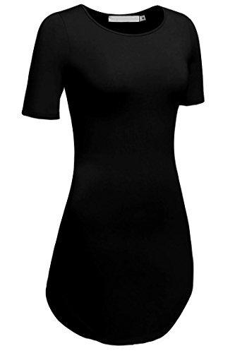 Stretch Tunika Bluse (cooshional Damen Lang Tunika Kurzarm Kleid Longshirt Herbst Bluse Sexy Minikleid O-Ausschnitt Stretch T-Shirt 32-46)