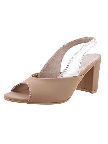 Adorn Women New Look Artificial Leather Beige Block Heel