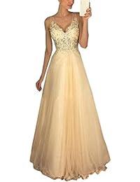 Neu Sommer Lang Kleid Damen Elegant Hochzeit Kleid Sexy V Schnitt Ärmellos  Kleider Maxikleid Tunikakleid Mode… e62f52af72