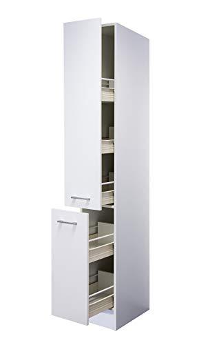 Flex-Well Apothekerschrank LUCCA | Hochschrank | 2 Front-Auszüge, 5 Schubkästen | Breite 30 cm | Weiß