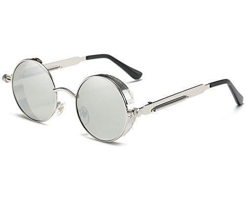 Runde Steampunk Polarisierte Sonnenbrille Metall Rand Rahmen Flip up Linse für Herren Damen UV400 (B/Silber/Silber, Polarisiert)