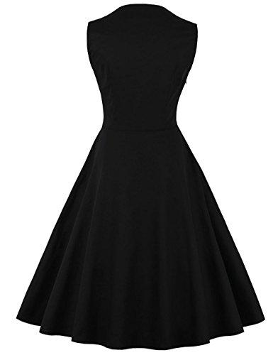 VKStar® Vintage 50er Jahre Rockabilly Kleid Ärmellos Retro Swing Elegantes Abendkleid mit Knöpfe Schwarz-Kariert