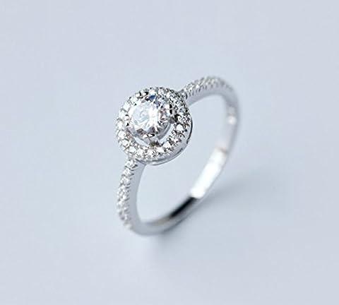Mme Bagues En Argent 925 Boucles D'oreilles Pleines De Pendentif Diamant Circulaire Cadeau Clavicule