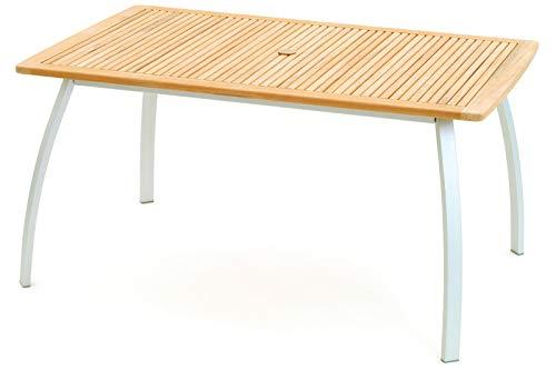 Belardo Avantgarde Esstisch, weiß/Natur, Aluminium/FSC Teakholz, 150x90cm