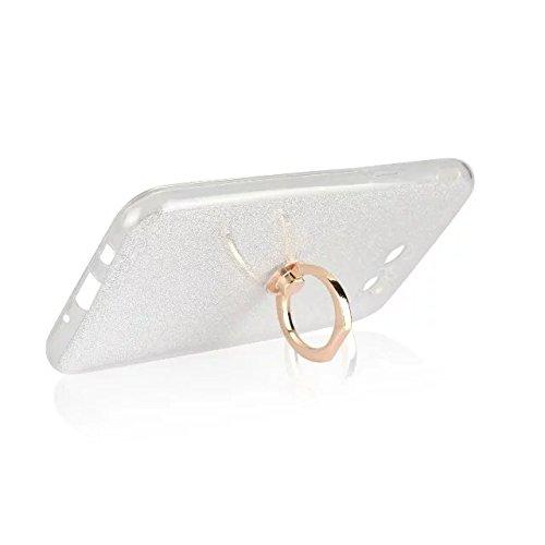 Luxus Bling Sparkle Style Case, Soft TPU [Silikon] Flexible Glitter Rückentasche mit Fingerring Stand [Anti Scratch] [Shockproof] für Samsung Galaxy J5 2017 (J520) ( Color : Black ) White