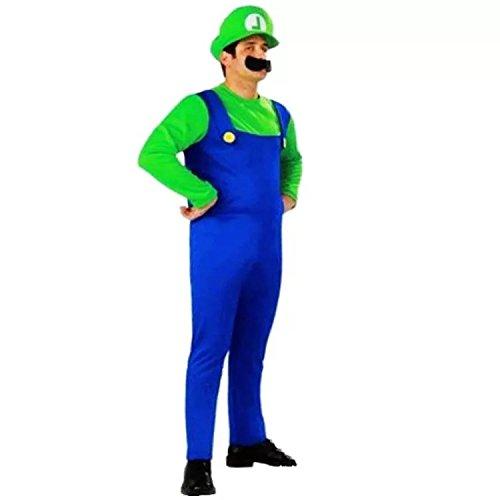 thematys Super Mario Luigi Mütze + Hose + Bart - Kostüm-Set für Erwachsene - perfekt für Fasching, Karneval & Cosplay - 3 Verschiedene Größen (L, 170-185cm Körpergröße) (Mario Und Luigi Kostüm Für Erwachsene)