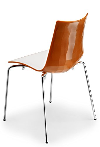 Parada One Design 2272 211 Zebra Modern Stackable and White Dining Chair with Chrome Legs, Orange