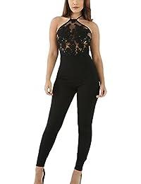 Y-BOA Combinaison Pantalon Long Épaule Dénudé Dos Nu Dentelle Transparent Noir Femme