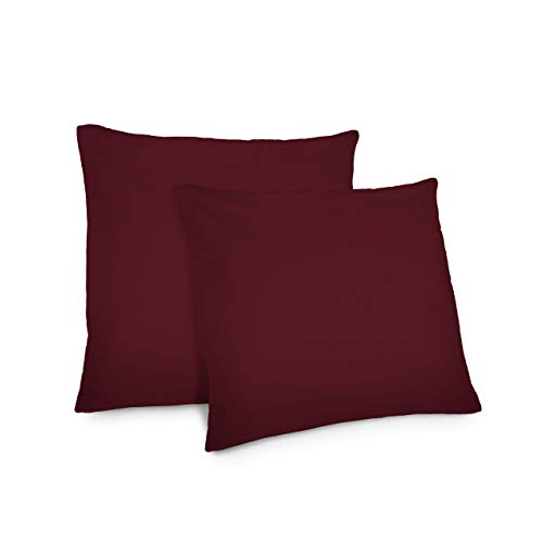 Lumaland Comfort Jersey Kissenbezug 2er Set aus 100% Baumwolle 160 g/m² mit YKK Reißverschluss 80 x 80 cm Bordeaux -