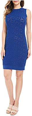 Michael Michael Kors Sweater-Lace Sheath Dress Blue XL