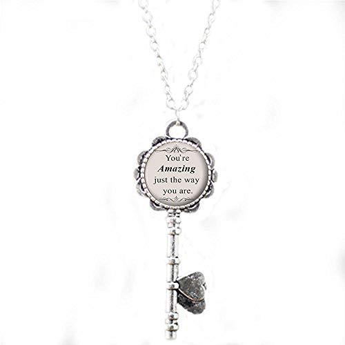 bab Bruno Mars Halskette mit Spruch Songtext Silber Schmuck Geschenk für Sie - You're Amazing just The Way You Are Key Necklace - Bibelzitat Anhänger - Religiöse Schlüsselkette