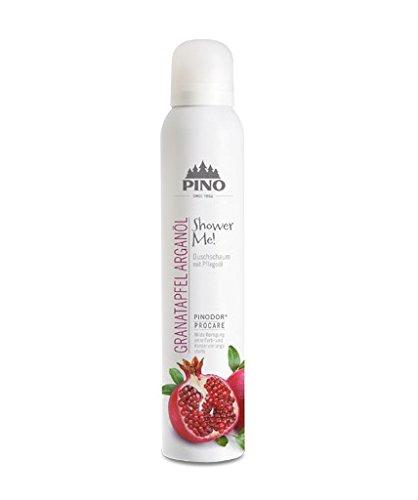 PINOFIT Shower ME! Duschschaum 200ml Dose versch. Duftnoten incl. 2 Waschhandschuhe von carmesin.com (Granatapfel-Arganöl) -